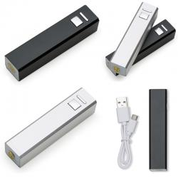 Carregador Power Bank Bateria Slim Tubo Metal  USB Personalizado para Brinde